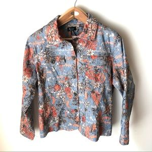 Analogy Woman 1X Embroidered button down jacket